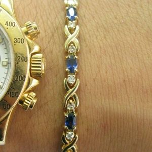 Jewelry - Natural Ceylon Sapphire Diamond Yellow Gold Tennis